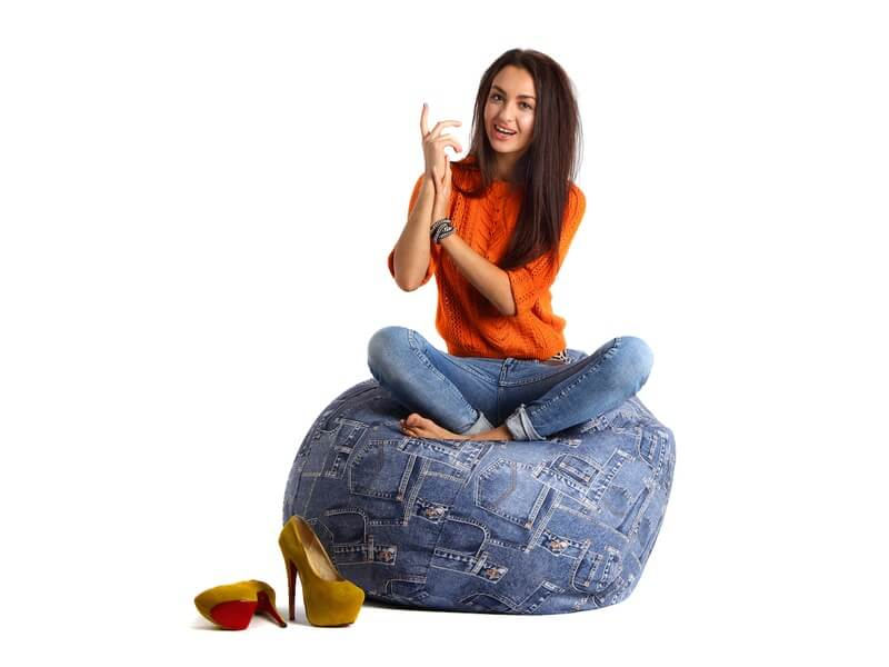 sitting on a beanbag chair