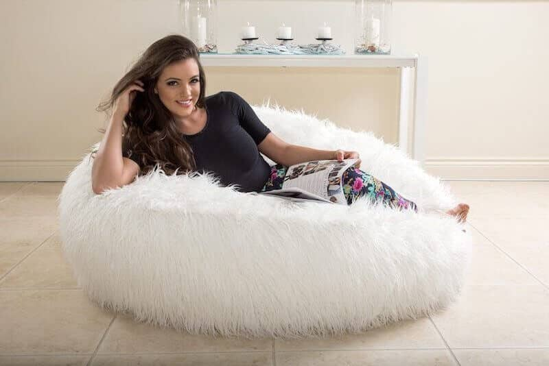 snow white luxury fur bean bag