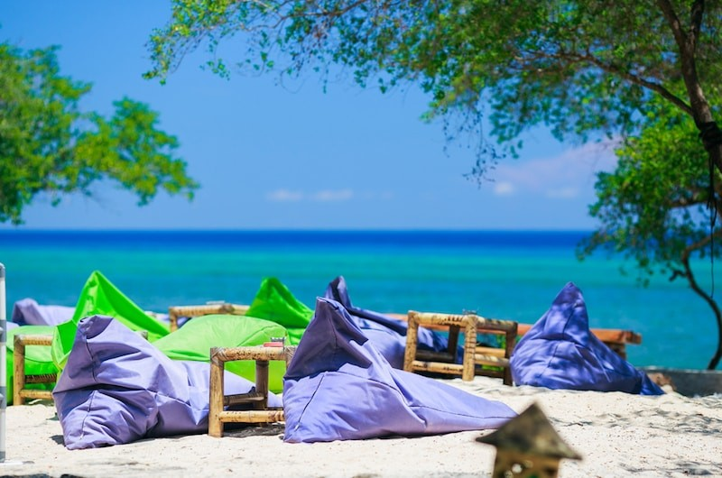 bean bags on bali beach