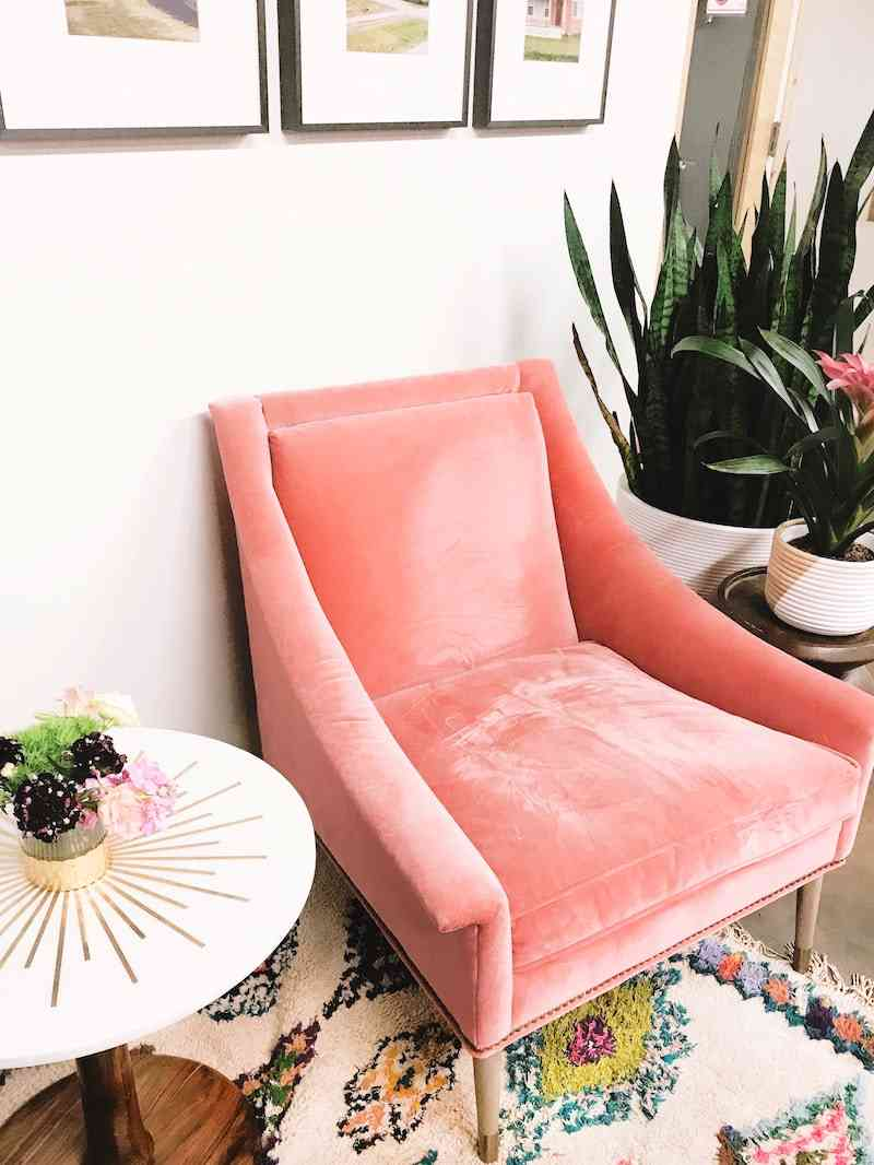 pink velvet chair
