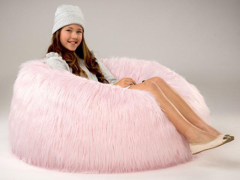 Kids Marshmallow Pink Fur Bean Bag Chair Bean Bags R Us