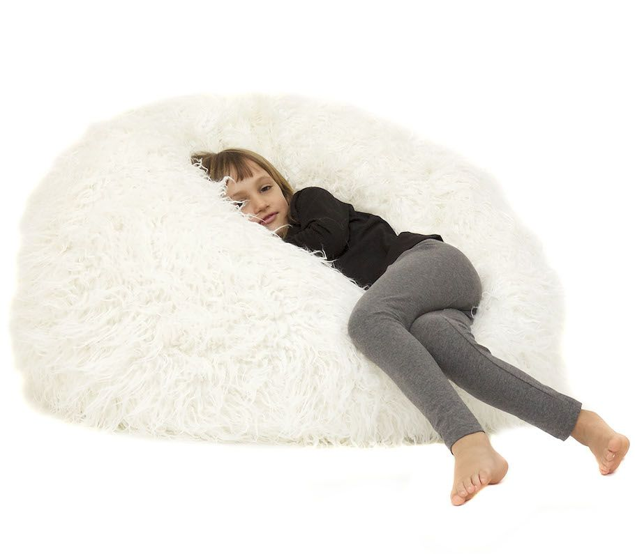 Kids Snow White Luxury Faux Fur Beanbag For Kids Bean